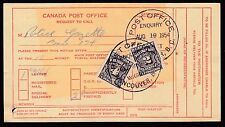 1954 J16 & J17, 2c & 4c psoatge dues.  On a REQUEST TO CALL card.  Vancouver, BC