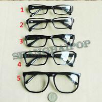 Black Clear Lens Slim/Large Frame Glasses Vintage Retro Thin Nerd Geek Fashion