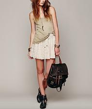 FREE PEOPLE S FP Lace Skirt Beige Crochet Smocked Eyelet Boho Mini Small 4 6 EUC