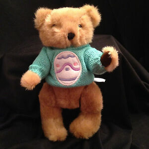 """Teddy Bear Brown Stuffed Plush Fully Poseable Jointed Sweater Easter 9"""" Toy"""