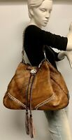 Raviani Brindle Hair On Leather Drawstring Bag  W/ Crystals #1211 Made In USA