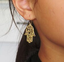 Gold hamsa earrings ,large size gold filled hamsa earrings ,Jewish jewelry