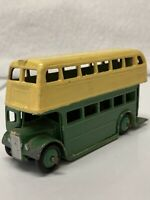 Dinky Toys Double Decker Bus Green/Yellow Repainted Made In England Meccano