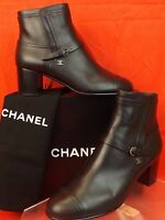 16A NIB CHANEL BLACK LEATHER BELTED SILVER BUCKLE CC LOGO ANKLE BOOTS 39 $1200