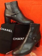 16a CHANEL Black Leather Belted Silver Buckle CC Logo Ankle BOOTS 41