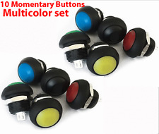 10X Momentary Push Button Switch 12mm ON/OFF SPST M4 Waterproof Round SPST Color