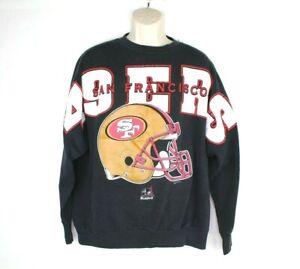 Vintage NFL Riddell San Francisco 49ers Mens Spelled Out Sweater XL Black 90s