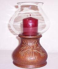 Windlicht Kerzenleuchter Keramik Glas Zylinder 23,5 cm hoch Baum Muster Retro