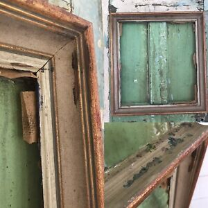 """OLD Picture Frame PAINT SPLATTERS DISTRESSED Painting LARGE Wood 21"""" x 22"""""""