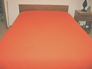 """RETRO~ORANGE RIBBED BEDSPREAD~86"""" X 100""""~GD/VGC FOR AGE~1960'S--1970'S~LOT #AA"""