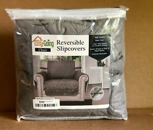 Easy-Going Reversible Slipcovers Chair Washable Anti-Slip Easy Care Gray Pets