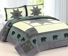 BLACK BEAR CROSSING Full Queen QUILT SET : LODGE CABIN STAR GREEN RED PLAID