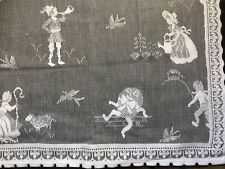 "Humpty Dumpty Nursery Rhymes White cotton lace panel 36"" x 24"" readymade"