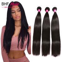 Natural Brazilian Virgin Human Hair Extensions Straight Weft 1/3 Bundles Weave