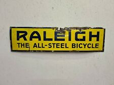 VINTAGE ORIGINAL RALEIGH ENAMEL ADVERTISING SIGN