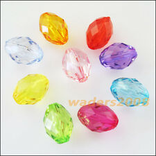 30 New Charms Plastic Acrylic Faceted Oval Ellipse Spacer Beads Mixed 8.5x13mm