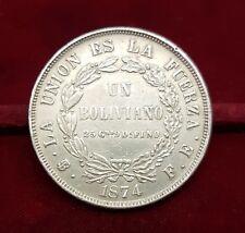 B-D-M Bolivia 1 Boliviano 1874 FE Potosí Km 160.1 Plata