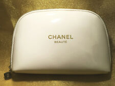 44a62b216f6a CHANEL BEAUTE COSMETIC MAKEUP BAG WHITE GOLD CASE CC Logo LIMITED EDITION  RARE