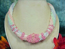 Twisted Herringbone Seed Bead & Faceted Pink Glass Bead Necklace. A~K~N Design