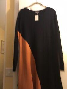Jaegar Navy/burnt Orange Knitted Dress Size 16 New