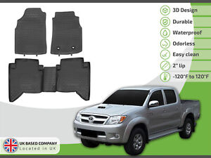 Tailored Rubber Set 3D Tailored Mats Tray for Toyota Hilux Double C 2005-2015
