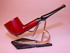 H.I.S. Italian Made Red Bruyere Cross Grain Briar Pipe Pot Ebonite Rubber Stem