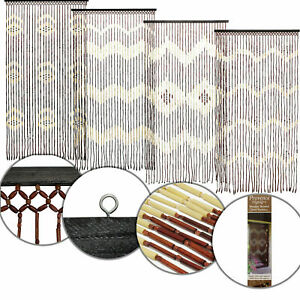 180 X 90cm Wooden Beaded Bamboo Door Curtain Summer Blind Fly Mosquito Screen UK