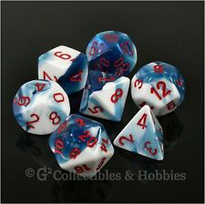 NEW 7pc Set Astral Blue White Gemini RPG Game Dice in Box D&D Chessex D20 D12 +