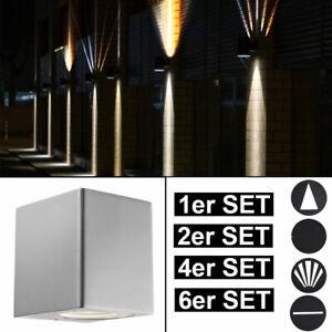 LED Außen Wand Leuchte Fassaden UP DOWN Effekt Strahler grau Garten ALU Lampe