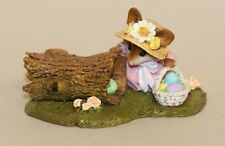 Wee Forest Folk Egg Hunt M-332 Mouse in Easter Bonnet Eggs in Hollow Log