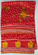 "Vintage Echo Silk Scarf Red with Yellow Roses 15"" x 46"""