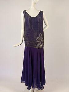 FLAPPER 1920'S PURPLE SILK CHIFFON FLAPPER DRESS W CLEAR BEADING & RHINESTONES