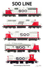 "Soo Line Locomotives 11""x17"" Railroad Poster Andy Fletcher signed"