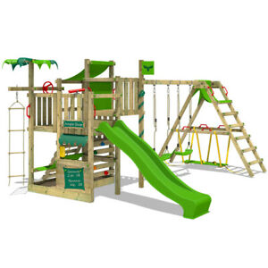 Wooden climbing frame FATMOOSE CrazyCoconut with surfswing, slide & sandpit