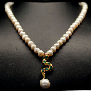 """NATURAL WHITE PEARL, EMERALD & RUBY NECKLACE 19.5"""" 925 STERLING SILVER"""