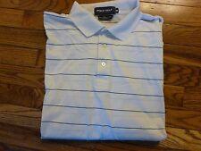 Men's Ralph Lauren Polo Golf White & Navy Striped Polo Shirt, Size Medium- NICE