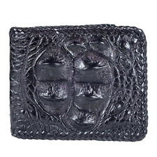 Genuine Crocodile Hornback Skin Leather ID Credit Card Bifold Wallet KTM Black