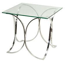 Cortesi Home Arlo End Table, Metal and Glass