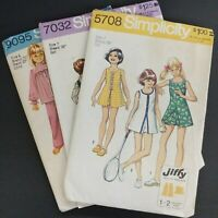Lot of 3 Simplicity Patterns Girl's 6 and 7 Dress PJ 9095 7032 5708 Factory Fold