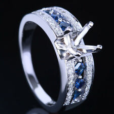 6.5mm Round 10K White Gold  Semi Mount Engagement Ring  Diamonds Sapphires