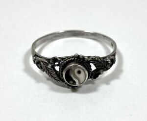 Sterling Silver Ring Yin And Yang Size P 1/2