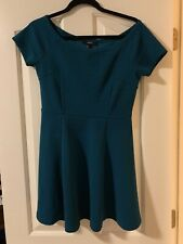 Forever 21 Dress Emerald Green Short Sleeve Pleated Dress Size L