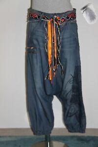 adorable sarouel jeans fin brodé DÉSIGUAL taille 36 fr PARFAIT ÉTAT