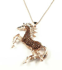 Rose Gold Plated Crystal coffee horse Unicorn Pendant Sweater Chain Necklace