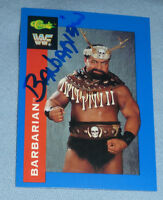The Barbarian Signed 1991 Classic WWF WWE Card #122 Powers of Pain Autograph WCW