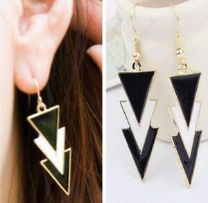 triangle Earrings black white enamel dangle drop Women Gold gift 80s 90s stud uk