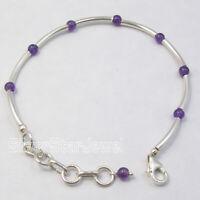 """925 Solid Silver Natural Amethyst Link Bracelet 7.7"""" Battle of the Boyne Sale"""