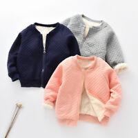 Baby Girls Boys Zipper Coat Jacket Kids Fleece Lined Winter Warm Outerwear Tops