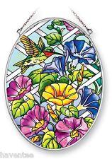 "AMIA STAINED GLASS SUNCATCHER 5.5"" X 7"" OVAL HUMMINGBIRD MORNING GLORY #41362"