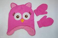 Toddler Girls KNIT ANIMAL Hat & Mittens PINK OWL